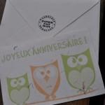 Carte Joyeux anniversaire modèle hibou vert et orange