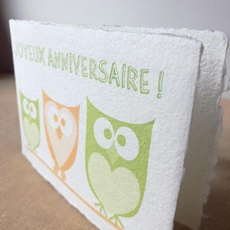 Carte Joyeux anniversaire Hibou