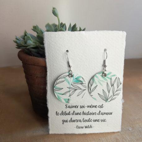 Boucles d'oreilles en papier Feuilles