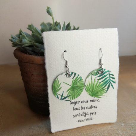 Boucles d'oreilles en papier Jungle