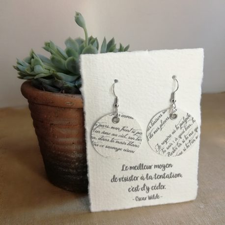 Boucles d'oreilles en papier Poésie
