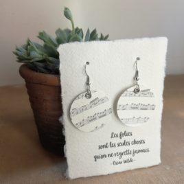 Boucles d'oreilles en papier Musique