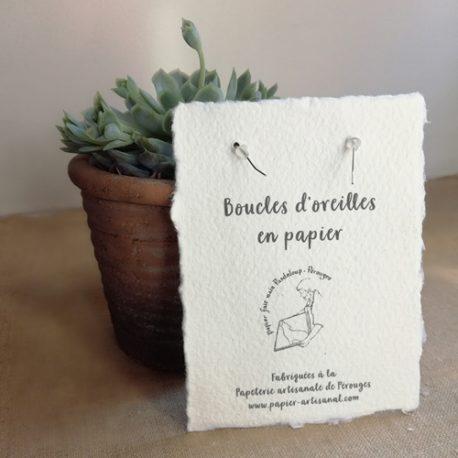 Boucles d'oreilles en papier : le dos de la carte