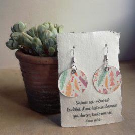 Boucles d'oreilles en papier Plumes