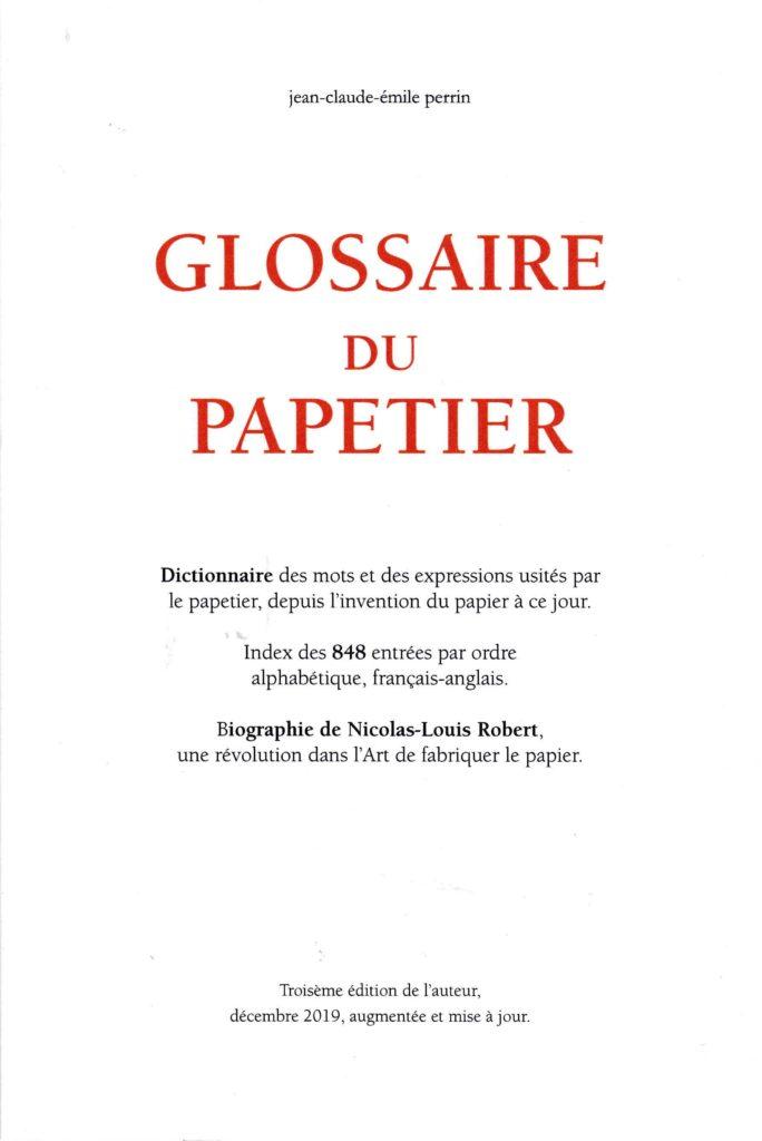 Livre sur le papier : Glossaire du papetier
