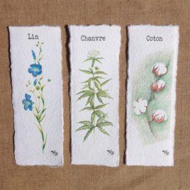 Marque pages en papier artisanal, papier fait main, sur le lin, le chanvre et le coton