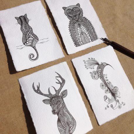 Cartes en papier artisanal, fait main, avec illustration de chat, ours, cerf, ibis