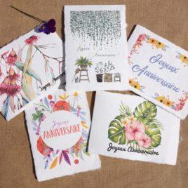 Cartes d'anniversaire en papier artisanal fait main, sur le thème des fleurs