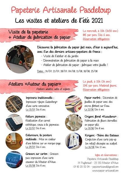 Programme des ateliers - Papeterie Pasdeloup - Eté 2021